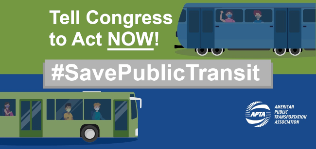 Image of buses with passengers that reads tell congress to act now #save public transit